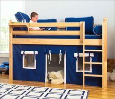 Loft Bed Curtains, Bunk Bed Tent, Loft Bunk Beds, Bunk Beds With Storage, Low Loft Beds, Kids Bunk Beds, Fort Bed, Modern Curtains, Casa Kids