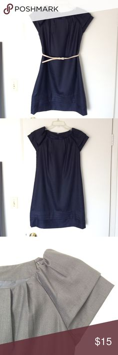 """Navy Blue Dress This is a simple navy blue dress with layered cap sleeves and gathered hem. Zipper and hook on the back. It is lined and comes with a 32"""" slim belt. Polyester. The dress hits above knee. (I'm 5'5"""", 110lb, 32D) Dresses Mini"""
