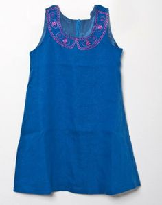 #kidsfashion mei ss2013 gorgeous linen turquiose blue with pink collar embroidery