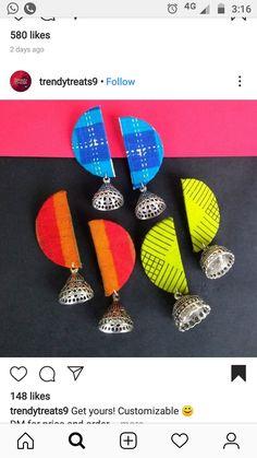 Diy Fabric Jewellery, Fabric Earrings, Thread Jewellery, Handmade Beaded Jewelry, Fabric Beads, Handmade Jewelry Designs, Textile Jewelry, Diy Wedding Earrings, Antique Jewellery Designs