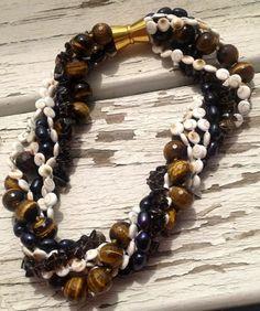 Freshwater Pearls, Tiger's Eye, Smoky Quartz, Shiva Healing Gemstone Multi-Strand Necklace ~EvezBeadz - Jewelry on ArtFire.com