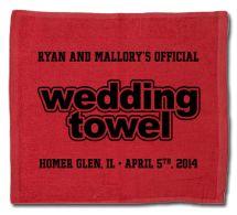 Custom Designed Wedding Rally Towel for your football themed wedding.
