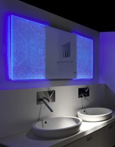 Backlit Bathroom Mirrors With Holographic Effect by Elia Felices