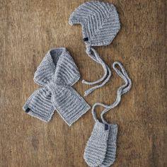 Hue, halstørklæde og vanter til baby (Lene Holme Samsøe)