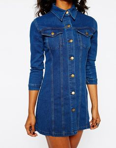 Image 3 of Boohoo Button Front Denim Dress