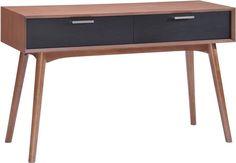 Zuo Modern 100096 Liberty City Console Table Color Walnut & Black Rubberwood Finish