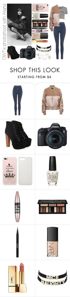 """""""DWT's photoshoot with Ariana"""" by michaelssmile ❤ liked on Polyvore featuring GET LOST, Topshop, Jeffrey Campbell, Eos, OPI, Maybelline, Kat Von D, Stila, NARS Cosmetics and Yves Saint Laurent"""