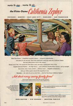 1957 California Zephyr train Vista Dome print by catchingcanaries, $9.00 Vintage Advertisements, Vintage Ads, Oakland San Francisco, California Zephyr, Train Art, Ad Art, Nose Art, Vintage Travel Posters, Train Travel