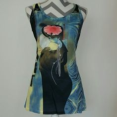 "HP""Art can be worn""Tank top NWT Brand new with tags!  ""Art isn't always hung, it's also worn"" Artsy tank top with black lace details, colorful  Size s/m Bust seam to seam approx 17"" Length approx 28.5"" Material 96% viscose 4% spandex Tops Tank Tops"