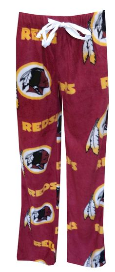 Washington Redskins Fleece Lounge Pants for Women, $25  Hail to the Redskins! If you hum that tune in your sleep, you must be a true fan! Show your team spirit with these cozy fleece lounge pants for women. They are covered with the Washington Redskins logo on a classic burgundy background. A white satin drawstring on the elastic waist adds a feminine touch. They are machine washable.