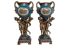 Sèvres-Style Ormolu Mounted Urns, Pair