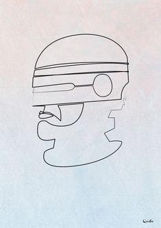 One Line Robocop Art Print