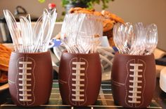 Use cup cosys to hold silverware!  Cute and easy! seattle seahawks football game party.  easy decorations and food with recipes.  follow my dirty aprons blog