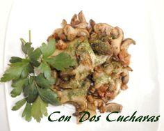 ConDosCucharas.com Setas de cardo con beicon - ConDosCucharas.com Tapas, Herbs, Appetizer Recipes, Garlic, Salads, Side Dish Recipes, White Wine, Olive Oil
