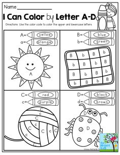 Color by upper and lowercase letter and tons of other FUN Back to School printables!