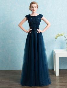 Blue Prom Dress 2018 Long Tulle Beading Evening Dresses Dark Navy Backless Floor  Length Party Dresses 87a847c93