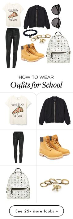 """""""School day """" by maryy1234 on Polyvore featuring Monki, Timberland, MCM, Sydney Evan, Yves Saint Laurent, women's clothing, women, female, woman and misses"""