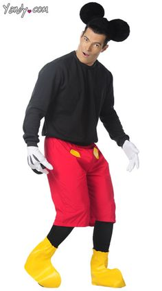 The Mens Mouse Set includes a black long sleeve shirt oversized red shorts with yellow circle applique black lycra leg stockings and attached tail along ...  sc 1 st  Pinterest & 8 best halloween costumes images on Pinterest | Adult costumes ...
