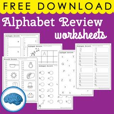 6 pages of Alphabet Review Worksheets  - Great for Kindergarten & First Grade #phonics #cvcwords #alphabetreview