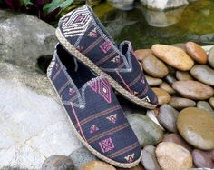 Mens Vegan Ethnic Naga Embroidered tribal Loafer.  Morgan  When ordinary just wont do. Ethnic Naga cotton uppers Lightly cushioned black
