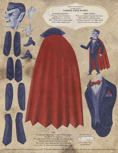 DIY Printable PDF Paper Doll Vampire in Red by ArtistInLALALand, $6.00