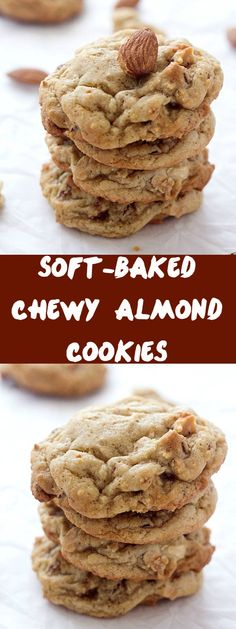 Soft-Baked Chewy Almond Cookies - The perfect cookie with a little crunch factor! Everyone loves cookie recipes! #ad