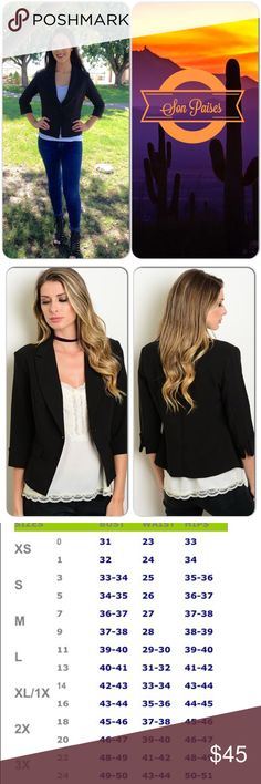 Black Blazer This super cute blazer features faux pockets, 3/4 sleeves, fully lined. Perfect for office or casual wear. 95% Polyester, 5% Spandex (This closet does not trade or use PayPal ) Warehouse Jackets & Coats Blazers