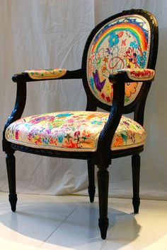 Chair reupholstered in plain canvas, then let loose with Sharpies