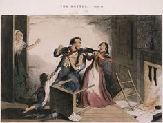 """George Cruikshank, """"Fearful Quarrels, and Brutal Violence, are the Natural Consequences of the Frequent Use of the Bottle, plate VI,"""" 1847. Glyphograph with hand coloring. 8 3/4 x 11 1/4 in. (22.2 x 28.6 cm). Collection UCLA Grunwald Center for the Graphic Arts, Hammer Museum.  Richard Vogler Cruikshank Collection."""