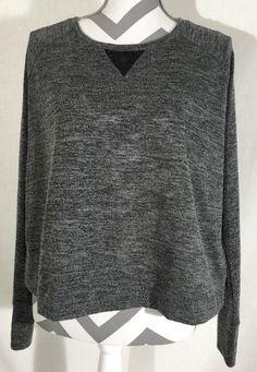 Victorias Secret Dark Gray Knit Crop Top Shirt Black Lace Size Small | eBay