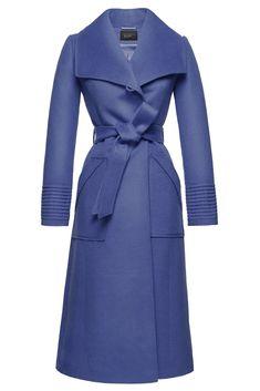 SENTALER   NEW LIMITED EDITION   LONG WIDE COLLAR WRAP COAT, COLOR;  TRUE BLUE  $1,295 USD