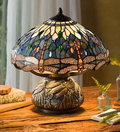 Tiffany-Style Dragonfly Lamp, 16.5 dia. x 15.5 H, Orange