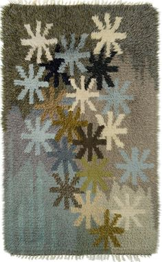 Anonymous; Wool Rya Rug, c1960. Art Textile, Textile Patterns, Textiles, Rya Rug, Mid Century Rug, Inkle Weaving, Latch Hook Rugs, Hand Hooked Rugs, Patterned Carpet