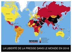 Freedom of press map 2017 (by Reporters without borders) Reporters Sans Frontières, Map Diagram, Freedom Of The Press, Without Borders, Jackdaw, World Press, Canada, Weird Facts, Crossfire