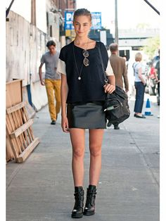 Black leather mini skirt #NYFW Street Style | Spring 2014 Fashion Week #Spring2014