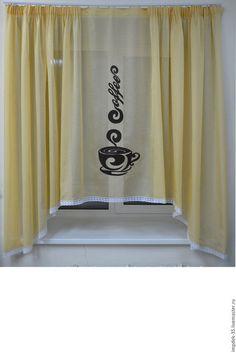 Текстиль, ковры ручной работы. Ярмарка Мастеров - ручная работа. Купить Шторы  на кухню. Handmade. Желтый, белый, венге, шоколад