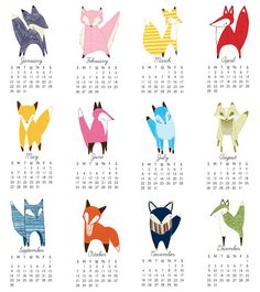 SALE 2012 Calendar Little Foxes by Gingiber on Etsy $6.50, got these just need to get them up before 2012 is over