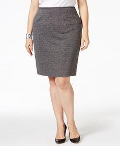 Calvin Klein Plus Size Tweed Pencil Skirt