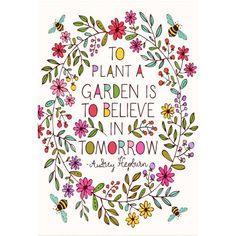 Colorful Garden Audrey Hepburn Garden Quote, Multicolor