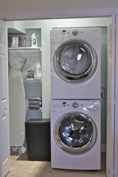 Ideas. Effective Stackable Washer And Dryer Laundry Room Organization Ideas. Excellent Small Laundry Room Closet Design Featuring Stackable Laundry Machines Space Plus Inset Laundry Room Cabinet With Two White Door Ideas. .