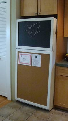 Love the chalk & memo board fridge cover idea.....hey this could be fun for the old fridge!