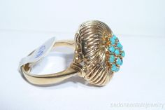 14/18K Solid Yellow Gold Turquoise Ring Flower Button Large Ring 1970s Vintage #Handmade #Cocktail