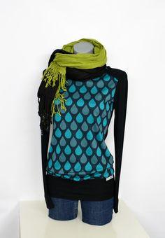 """Longsleeves - Iza Fabian - Langarm """"CC-15"""" pullover schwarz blau - ein Designerstück von Iza-Fabian-Design bei DaWanda"""