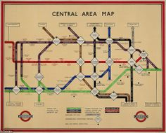 1934 Central area lithograph in colours map of the Underground was printed Waterlow & Sons. While it keeps with the colours, 45 degree angles and general look of Harry Becks classic map design, this central area map does contain lots of variances. #London #Underground #Posters #Advertising #Retro #Vintage