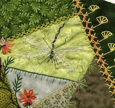 Dragonfly on crazy quilt