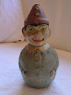 Antique Vintage Toy Paper Mache French Compo Roly Poly Clown Musical Rolly Toys | eBay