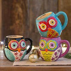 natural*life  自然生活 手绘陶瓷 猫头鹰 马克杯  4色入