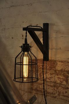 Bulb Guard Wall Sconce Cage Light Lamp Industrial Retro Vintage Solid Wood in Home & Garden, Lamps, Lighting & Ceiling Fans, Wall Fixtures Farmhouse Lamps, Farmhouse Lighting, Rustic Lighting, Lighting Design, Industrial Lighting, Wall Fixtures, Wall Sconces, Light Fixtures, Wall Lamps
