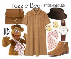 """Fozzie Bear"" by leslieakay ❤ liked on Polyvore featuring Daniel Wellington, kangol, Chloé, MANGO, Dorothy Perkins, Dainty Edge, disney, disneybound and disneycharacter"