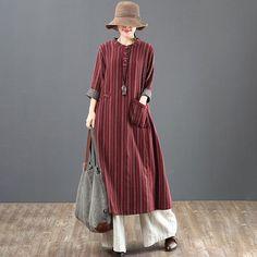 Women Loose Stripe Cotton Long Sleeve Dress - Wedding World Abaya Fashion, Boho Fashion, Fashion Dresses, Kurta Designs, Blouse Designs, Long Sleeve Cotton Dress, Dress Long, Moslem Fashion, Pantalon Large